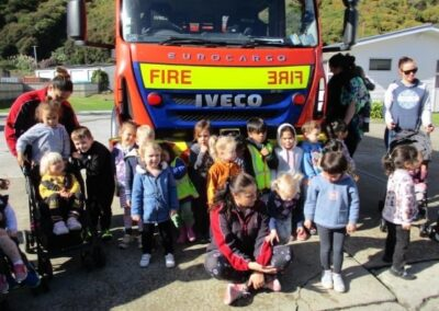 Whakatane Volunteer Fire Brigade hosts a visit for Little Sprouts students