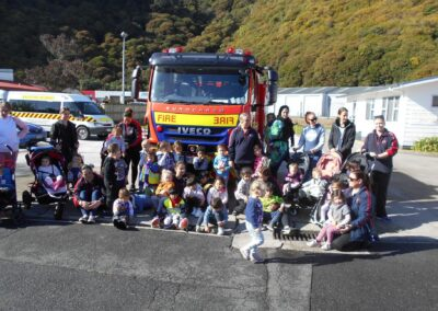 At the Whakatane Fire Station with Little Sprouts students